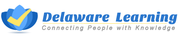 Picture of a the Delaware Learning Center LMS logo with the words Delaware Learning Center in blue, a yellow check-mark to the left side with a light to dark blue image and the words Connecting People with Knowledge