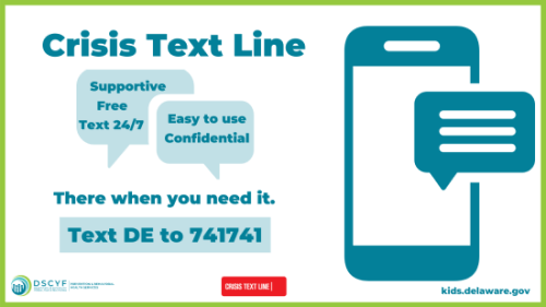 Text DE to 741741 to access the crisis text line