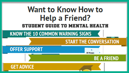 A list of ways to help a friend having mental health issues