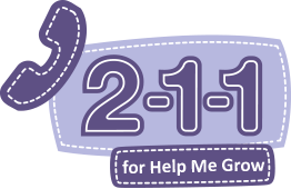 """Purple and lilac color """"Call 2-1-1 for Help Me Grow"""" logo with a purple telephone handset icon and the numbers 211 in purple against a lilac rectangle with white stitching"""