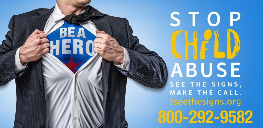 Photo of man opening shirt to display a t-shirt with the words Be a Hero.  Text against a blue background with the words Stop Child Abuse